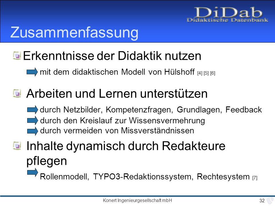 Zusammenfassung Erkenntnisse der Didaktik nutzen mit dem didaktischen Modell von Hülshoff [4] [5] [6]